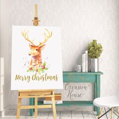 Printable Christmas Deer Poster, Merry Christmas Poster, christmas home decor, wall decor, Christmas Signs, Deer Horn, 16x20, DM1 by OccasionHouse on Etsy