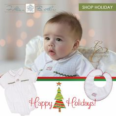 Look at the gorgeous detail on our Holiday Caboose Creeper! We just love that little hand embroidered caboose! Who can resist a baby boy in a classic holiday bubble and bib?! Comes in sizes Newborn, 3m, 6m, & 9m! ❤ http://feltmanbrothers.com/holiday-collection/