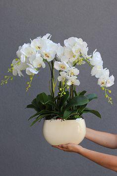 Potted Orchid Centerpiece, Orchid Flower Arrangements, Orchid Planters, Artificial Flower Arrangements, Beautiful Flower Arrangements, Artificial Flowers, Decoration Plante, Decoration Table, House Plants Decor