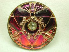 Mirror back Button Dragonfly trio Pink/Purple w/ Gold Luster FREE US SHIPPING