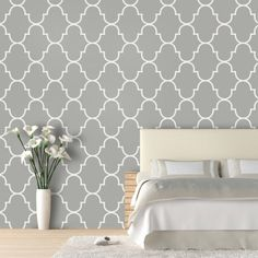 Classic Trellis 9.5 Ft Removable Wallpaper  Bedroom