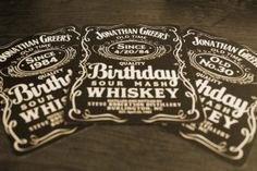 Say Happy Birthday With Personalized Whisky Bottle Labels (made to look like Jack Daniel's Whiskey) on Etsy, $10.00