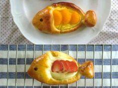 さかな形のクリームパンの画像