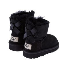 UGG Australia Girls Black Sheepskin Bailey Bow Boots ($115) ❤ liked on Polyvore featuring shoes