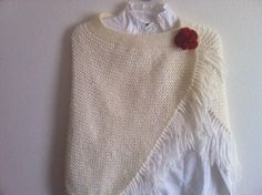 Knit Women  Cream Shawl Bolero Shawl Poncho With by zahraknitting on etsy.