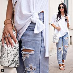 42 Easy Outfit Ideas Using a White Tee: A white tee is that basic piece that every woman owns, but could you wear one every day?