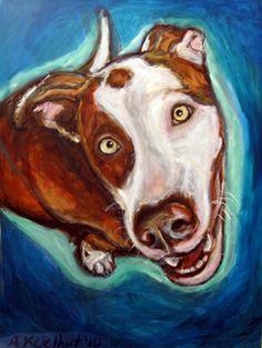 """Sebastien"" pitbull custom dog painting by Angie Ketelhut"