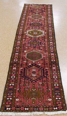 2 x 9 Persian Karajeh Tribal Hand Knotted Wool Rust Blue New Runner Oriental Rug #PersianKarajehGeometric