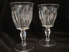 "Vintage Long Stemmed Shot Glasses Cordial Cut Glass Star 4-1/2"" Tall"