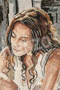 Mosaic portrait of woman's face, eyes closed Mosaic Tile Art, Mosaic Artwork, Mosaic Crafts, Mosaic Projects, Mosaic Glass, Glass Art, Stained Glass, Mosaic Designs, Mosaic Patterns