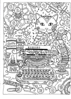 Abstract Doodle Coloring pages colouring adult detailed advanced printable Kleuren voor volwassenen creative cats coloring book page dover