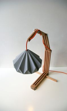 wooden lamp structure with paper lampshade van nellianna op Etsy Deco Luminaire, Luminaire Design, Lamp Design, Lighting Design, Origami Lampshade, Paper Lampshade, Lampshades, Light Fittings, Light Fixtures