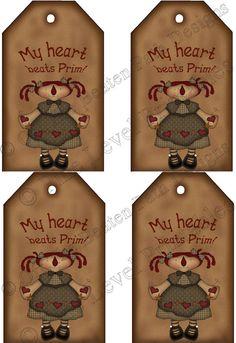 My Heart Beats Prim U Print Tags