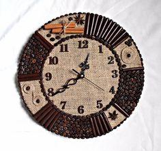 Одноклассники Clock Craft, Diy Clock, Art N Craft, Diy And Crafts, Arts And Crafts, Bone Crafts, Newspaper Crafts, Oclock, Coffee Beans