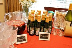 Wine theme bridal shower with mimosa bar Love the frames with what the drinks are
