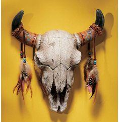 牛の頭蓋骨 スカル インディアン壁掛けオブジェインテリア雑貨_画像1
