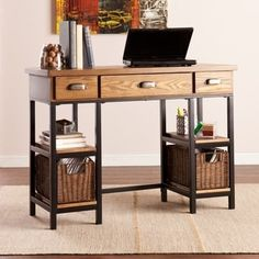 this unique upton home desk crosses farmhouse and industrial style with rattan baskets for simple storage weathered gray finish matte black frame