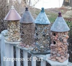 Creative and Frugal DIY Garden Art Projects: Make a stone birdhouse Bird Houses Diy, Fairy Houses, Garden Houses, Homemade Bird Houses, Garden Crafts, Garden Projects, Art Projects, Crafty Projects, Pvc Pipe Projects