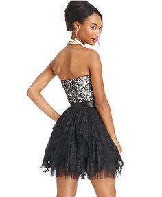 As U Wish Juniors Dress, Strapless Lace Tulle Sweetheart