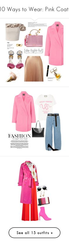"""10 Ways to Wear: Pink Coats"" by polyvore-editorial ❤ liked on Polyvore featuring pinkcoats, waystowear, Theory, Miss Selfridge, Sophia Webster, Maryam Keyhani, Chicwish, Gucci, Tom Ford and Jonathan Simkhai"