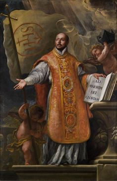 Every July we commemorate the feast day of St. Ignatius of Loyola, the patron saint of the Society of Jesus, soldiers, educators and education. Catholic Art, Catholic Saints, Patron Saints, Roman Catholic, Religious Art, Philippe De Champaigne, St Ignatius Of Loyola, Society Of Jesus, Lives Of The Saints