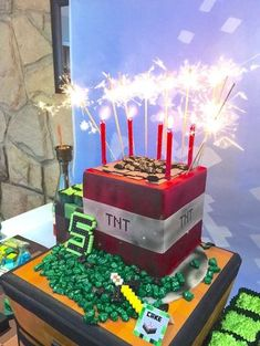 Cake with Sparkler Candles from a Minecraft Birthday Party via Kara's Party Ideas | KarasPartyIdeas.com (46)