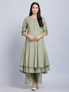 0210506c6d5 Buy Olive Green Cotton Kurta with Palazzo- Set of 2 online at Theloom Sari  Dress