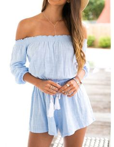 Blue Long Sleeve Off Shoulder Elastic Waist Beach Playsuit Romper Product Code: Package included: one piece romper Gender: Female Age Group: Adult Color:blue Pattern: Solid Color Material: cotton Brand New Unique design and the latest fashionabl Elegant Summer Outfits, Spring Outfits, Simple Outfits, Rompers Women, Jumpsuits For Women, Cute Rompers, Jumpsuit Denim, Ruffle Jumpsuit, Summer Jumpsuit