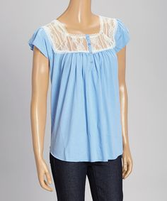 Look at this Ruby Rose Blue Lace Cap-Sleeve Top on #zulily today!