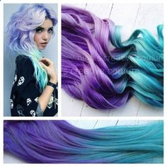 blue ombre hair | Pastel Ombre Hair,Tie dye Hair,Hair Extensions, Lavender a | ombrehair ...
