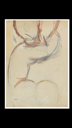 Amedeo Modigliani - Caryatide - Gouache, watercolour and blue wax crayon on paper - 55,6 x 44,4 cm