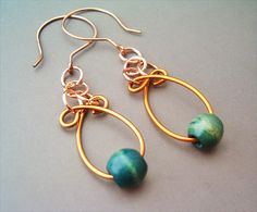 Wire Wrapped Earrings Copper and Green Wood Beads - Handmade Copper Earrings - Copper Jewelry