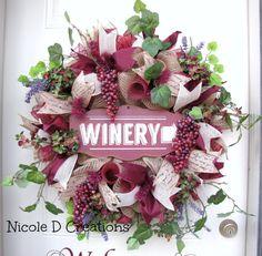 Deluxe XXL Burlap Winery Vineyard Burgundy by NicoleDCreations Wine Craft, Wine Cork Crafts, Wine Bottle Crafts, Wine Bottles, Deco Mesh Wreaths, Fall Wreaths, Christmas Wreaths, Christmas Decorations, Burlap Wreaths