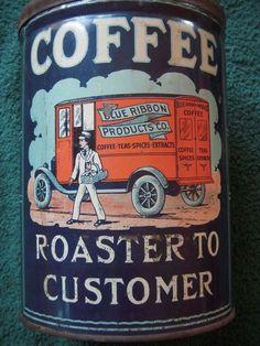 "Vintage Coffee Tin ""Blue Ribbon"" from San Francisco 2 1/2 LBS:"