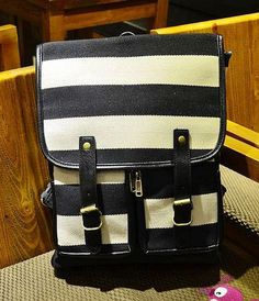 Striped Buckled Backpack, Black and White , One Size - Smoothie | YESSTYLE