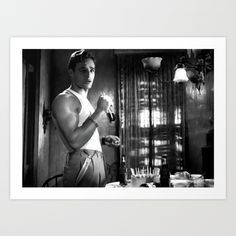 Marlon Brando as Stanley Kowalski  in the film A Streetcar Named Desire (Elia Kazan - 1951) Art Print