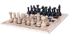 RADICALn 16 Inches Handmade Coral and Black Marble Full Chess Game Original Marble Chess Set ** Read more reviews of the product by visiting the link on the image.