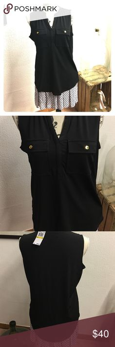 MK sleeveless shirt Black MK sleeveless shirt with gold buttons on front pockets size M.  NWT. MK skirt available in my closet for separate purchase MICHAEL Michael Kors Tops Blouses