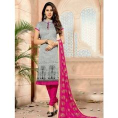 Dazzling Gray Coloured Chanderi Embroidery Indian Designer Suit At Attractive Price By Uttamvastra - Online Shopping For Women Buy Salwar Kameez Online, Salwar Suits Online, Indian Designer Suits, Designer Salwar Suits, Latest Salwar Suits, Churidar Suits, Online Shopping For Women, Ethnic Fashion, Suits For Women