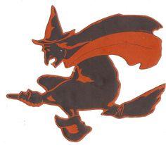 """1929 Dennison 'Witch' Die Cut Decoration. Three Sizes: 4"""", 7 1/2"""", 12"""""""