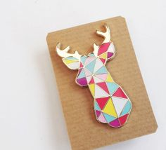 Geometric Enamel Stag Head  Brooch Pin Badge by SketchInc on Etsy, £8.50