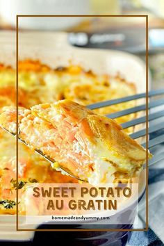 Sweet Potato Au Gratin is hearty and delicious. Scalloped sweet potatoes topped with cheese. A twist on traditional Gratin Dauphinois. #homemadeandyummy #sweetpotatoes #augratin #scallopedpotatoes #potatorecipes | homemandeandyummy.com Pumpkin Recipes, Veggie Recipes, Real Food Recipes, Yummy Food, Delicious Recipes, Side Dish Recipes, Easy Dinner Recipes, Easy Meals, Side Dishes