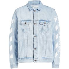 Off-White Oversized Denim Jacket (€510) ❤ liked on Polyvore featuring men's fashion, men's clothing, men's outerwear, men's jackets, blue, mens blue jean jacket, mens distressed denim jacket, mens oversized denim jacket and mens blue jacket