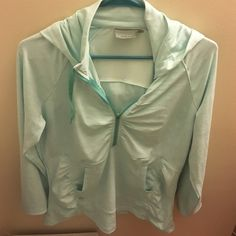 Athleta Hooded Pullover Beautiful light blue pull over by athleta, worn but I'm great condition Athleta Tops Sweatshirts & Hoodies