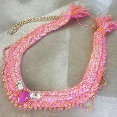 Braided necklace statement necklace braid pink by JewelryLanChe