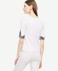 Thumbnail Image of Color Swatch 9000 Image of Embroidered Floral Short Sleeve Sweater