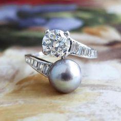 Vintage Pearl Ring 1930's Old European Cut Diamond Grey
