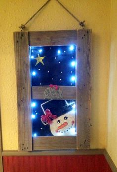 Pallets Wood Glowing winter wood pallet window - Rustic Holiday Decor - easy, inexpensive, and beautiful DIY rustic holiday decor ideas: wood pallets, reclaimed wood, and farmhouse style holiday decor. Pallet Christmas, Christmas Signs, Christmas Art, Christmas Projects, Winter Christmas, Christmas Decorations, Homemade Christmas, Simple Christmas, Christmas Wood Crafts