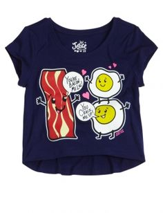 Bacon and Eggs Cropped Graphic Tee from justice