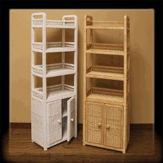 Wicker Bathroom/Bedroom Tall Shelf with Doors via @wickerparadise #bathroom #wicker #storage www.wickerparadise.com
